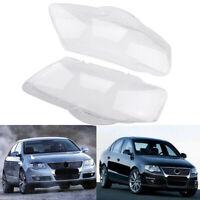 Pair Clear Headlight Lenses Plastic Shell Cover Lampshade For VW Passat B6 R36