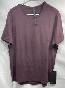 LULULEMON Men's On the Move Classic Fit 5 Year Basic Tee Large Burgundy/Red