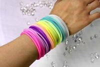 50pk 100pk Multicolor Silicone Jelly Bracelets Glow in the Dark Hair Ties Favors