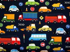 Baumwolljersey Jersey Fahrzeuge Auto Polizei Bagger Schulbus Zug grau bunt 1,65m