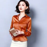 Women's Faux Silk Satin Shirt Blouse Shirt Top Long Sleeve V-neck Formal Casual