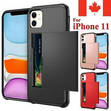 For iPhone 11 Case - Wallet Armor Shockproof Card Holder Sliding Cover
