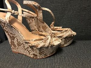 Strappy Fabric Upper Leather Outsole Open Toe Wedge Colin Stuart Heels Sandals