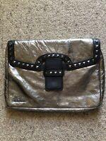 ICEBERG Metallic Silver leather Clutch bag, BNWOT, RRP $785
