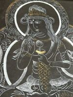 ANTIQUE HAND PAINTING HINDU GODDESS GOLD SILVER PAINT ON CLOTH PROTECTIVE PAPER