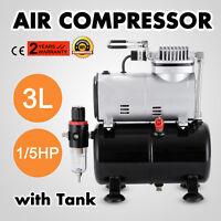 1/5HP Airbrush Air Compressor With 3L Air Tank Spray Gun Portable Graphic Nail