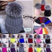 Women Girl Pom Pom Beanie Warm Knitted Bobble Fur Hat Real Raccoon Fur