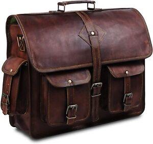 Men's Real Leather Laptop Bag Brown Tote Bag Shoulder Bag Messenger Briefcase