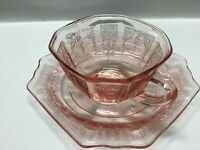 "Anchor Hocking Vintage Depression Glass Cup And Saucer ""Princess Pink Pattern"""
