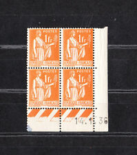 timbre France bloc de 4 coin daté  type  Paix  1f  orange    num: 286  **