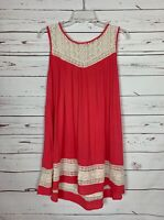 Umgee USA Boutique Women's S Small Coral Sleeveless Lace Summer Tunic Top Shirt