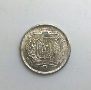 1952 Dominican Republic 1/2 Peso KM#21 Lt  Toning Blazing Lustre Very Nice Coin