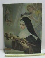 Antique St. Rita of Cascia Jesus Crucifix Religious Metal Art Tin Lithograph 2