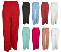 New Womens Plain Crepe Palazzo Wide Leg Flared Trousers 8-14