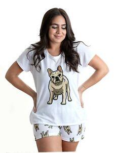 French Bulldog yellow Dog Frenchie Pajama Set with shorts for Women, white