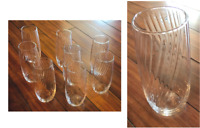 VINTAGE Libbey Crisa Clear Glass SWIRL 18 oz. Tumblers Set of 8