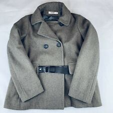 RARE Comptoir des Cotonniers Axel Wool Peacoat Coat Leather Belted EU 36 US S, 6