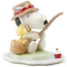 Lenox Peanuts Fishing Buddies Figurine Snoopy Woodstock Pole Lures Beagle New