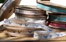 EAST OF INDIA vintage word ribbon - Blue Birds 20 Metre Roll