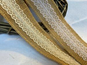 "Eleganza 50mm/2"" Hessian & Lace Burlap Ribbon Rustic Decor, Wedddings.."