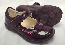 BNIB Clarks Girls Ella Emma Purple Patent Leather Lights First Shoes F/G Fittin