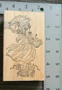 Victorian Lady With Unbrella Rubber Stamp By Stamps Happen
