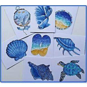 Greeting Cards Ocean /Beach Theme  - Handmade - Prints of origional watercolour