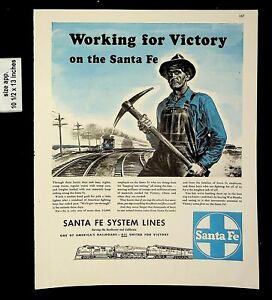 1943 Santa Fe Railroad System Lines for Victory Vintage Print Ad 20207