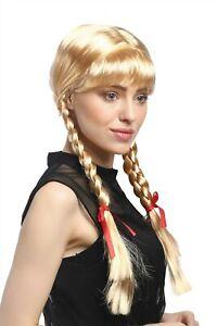 Perücke Damen Karneval Cosplay Fasching Zöpfe geflochten Schulmädchen Blond