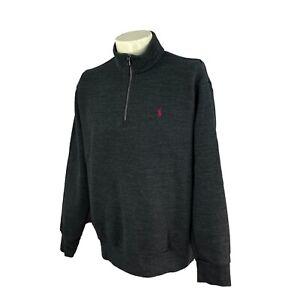 POLO Ralph Lauren Men's 1/4 Zip Pullover Knit Charcoal Gray Sweatshirt Large