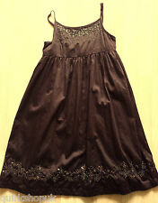 GAP KIDS girls brown COTTON embroidered & sequinned party DRESS 12 years XL NEW