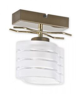 SINGLE FLUSH LIGHT FITTING GOLD GLASS SHADE - SWIRLS MODERN WALL LAMP HALLWAY