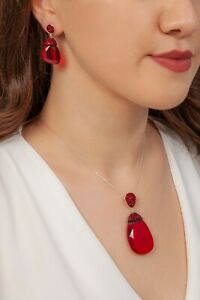 AAA QUALITY STERLING 925 SILVER JEWELRY MADAGASCAR RUBY EARRINGS & NECKLACE SET