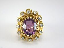 BEAUTIFUL LADIES 14K GOLD OVAL CUT AMETHYST & DIAMOND COCKTAIL STYLE RING 9.6G