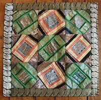 Silk Brocade Patchwork Pillow Cover Accent Decorative Designer Decorator Green