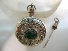 Sterling Silver perfume bottle round engraving vintage design w/ Malachite