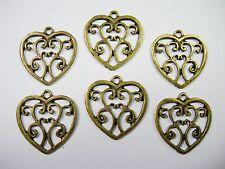 Antiqued Brass Heart Drops Earring - Pendant - 6