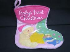 BABY GIRL PINK BABY'S 1ST CHRISTMAS TEDDY BEAR DOLL STAR PLUSH STUFFED  STOCKING