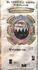 1586 ARALDICA STEMMA FABRIZIO RUFFO Conte di Nicotera Regno Napoli