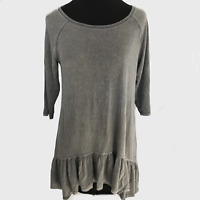 Dantelle Anthropologie Vintage Grey Boho Ruffled Long Peplum Top Blouse Small S
