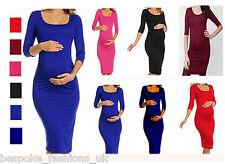 Ladies Women's Maternity 3/4 Sleeve Pregnancy Nursing Bodycon Midi Dress 8-26