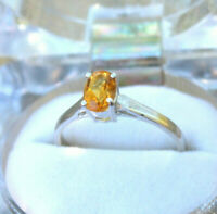 Natural Citrine Gemstone Stacking Ring Prong Set 925 Sterling Silver Jewelry G-5