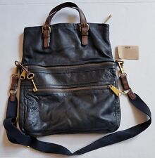 Fossil Explorer Black Brown Large Leather Foldover Crossbody Messenger Bag Tote