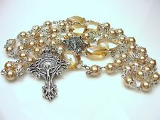 Ornate Mary Miraculous Medal & Crucifix SS Champagne Czech Pearl Crystals Rosary