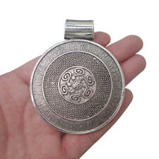 2 x Large Antique Silver Round Medallion Boho Charms Pendants Jewellery Findings