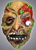 Adult Unisex Drop Eye Latex Zombie Halloween Mask & Green Boils Full Head Mask
