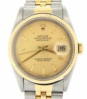 Mens Rolex Datejust 18K Gold Stainless Steel Watch Jubilee Tapestry Dial 16233
