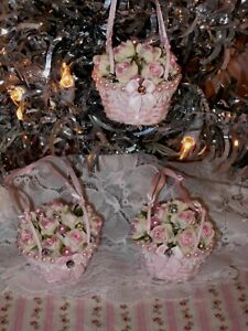 shabby cute hand painted pink rose filled wicker basket Christmas ornaments