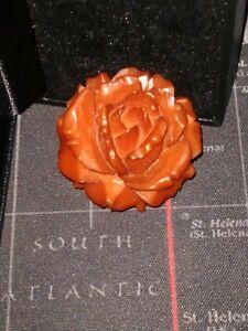 large amber flower brooch vintage