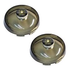 2 Smoke Snap In Bullet Turn Signal Lenses for 02-16 Harley - US Army On Black